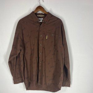 Columbia Brown River Lodge Button Front Shirt Sz L